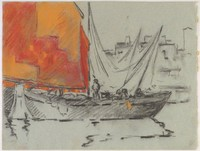 Sailboat in Harbor, Lucille Douglass, charcoal and pastel on blue machine-made laid paper