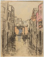 Canal, Lucille Douglass, charcoal and pastel on machine-made laid paper