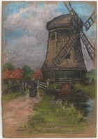 Windmill in Village, Lucille Douglass, pastel on paper