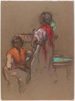 Two Women at Fountain, Lucille Douglass, pastel