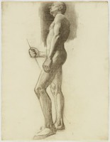 Standing Male Nude Side View Holding Staff - Upper Half More Finished, Lucille Douglass, charcoal on paper