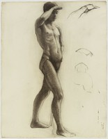 Male Striding Figure - Nude - Sketch, Lucille Douglass, charcoal on paper