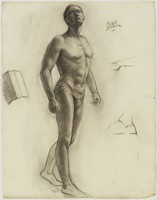 Male Standing Figure - Nude - Fists Clenched, Lucille Douglass, charcoal on paper