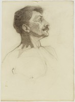 Male Head, Lucille Douglass, charcoal on paper