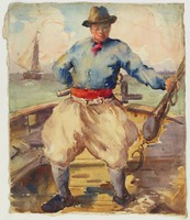 Sailor on Boat Deck, Lucille Douglass, translucent watercolor and charcoal on paper