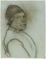 Female Half Figure, Lucille Douglass, charcoal on paper