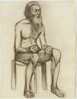 Seated Male Nude, Bearded, Lucille Douglass, charcoal