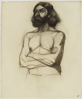 Male Half Figure - Bearded, Lucille Douglass, charcoal on paper