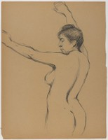 Upper 3/4 Standing Female Nude, Lucille Douglass, charcoal