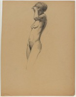 Standing Female Nude, Lucille Douglass, charcoal