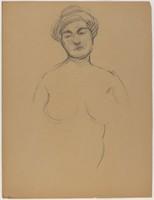 Female Half Figure - Nude, Lucille Douglass, charcoal