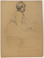 Female with Tub, Lucille Douglass, charcoal