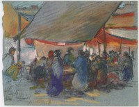 Shoppers at a Market, Lucille Douglass, pastel and charcoal on blue paper