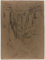Landscape with Bridge, Lucille Douglass, charcoal on paper