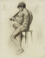 Seated Male Nude Playing Pan Pipes, Lucille Douglass, charcoal