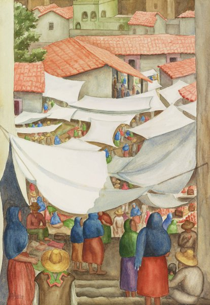Mexican Market, Rosalie Pettus Price, watercolor