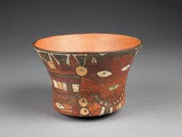 Bowl with flat bottom, flaring toward top; decorated with supernatural creature, and abstract, zoomorphic design elements