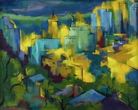 Night View, Harriet Murray, polymer on canvas