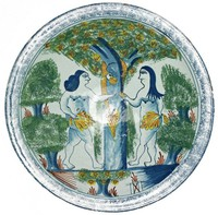 Charger with depiction of Adam and Eve