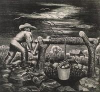The Well, Merritt Mauzey, lithograph