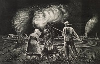 Burning Stalks, Merritt Mauzey, lithograph