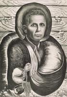 Self-Portrait, Merritt Mauzey, lithograph