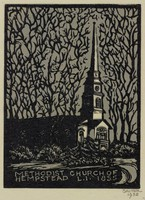 Methodist Church of Hempstead, L.I., Lucy Jane Salter, woodcut