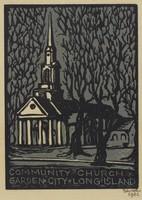 Community Church, Lucy Jane Salter, woodcut
