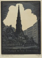 St. Mark's in the Bowerie, Lucy Jane Salter, woodcut