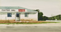 Feaster's Grill, David H. Ligare, watercolor on paper