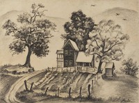 House at Dillard, Georgia, Joseph Marino-Merlo, pencil on paper