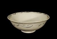 Bowl, Vietnam, glazed stoneware with underglaze-blue cobalt-oxide