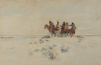 The Coming of the Iron Horse, Charles Marion Russell, watercolor