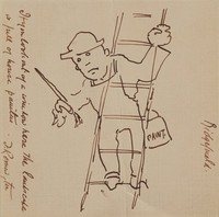 Sketch: House Painter On Ladder, Frederic Remington, ink on paper