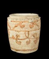 Glazed stoneware jar with carved lotus-petal collar and inlaid vegetal decoration