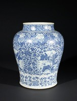 Blue-and-White Jar with Floral and Landscapes Motifs and Cloud Collar, China, porcelain with underglaze blue decoration
