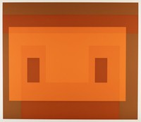 An abstract composition made up of layered rectangles in various shades of orange and brown.
