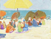 Female figures with sand and umbrellas