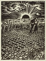 A wide cobblestone street is flanked by tall grassy fields. A man and woman walk away from the viewer with arms wrapped around each other. The sun sets in the background.