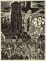 A crowd of people stand in the foreground holding crosses and palm leaves. Dominating the background are a large tower and crucifixion image.