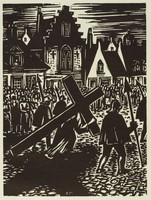 A robed figure carries a cross on his back down the street in front of guards and a crowd of people. In the background are rows of houses and a church.