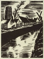 The lower half of the composition contains a water canal. On the left bank are several small houses and a windmill. A figure walks on the bank carrying sticks on his or her back. In the background is a tall tower and a bending tree.