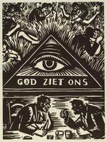 """In the center of the composition is a large triangle with an eye. Underneath the eye reads """"God Ziet Ons."""" Above the triangle are multiple couples in various poses. Below the triange sit two men at a table in conversation."""