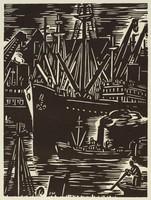 Anvers - Bâteaux, Frans Masereel, woodcut