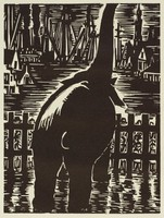 A rear facing elephant stands in the foreground with his trunk lifted upwards. A crowd of people stand behind a fence to look at the elephant. In the background is the cityscape of Antwerp made up of houses and factories.