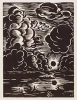 Coucher du soleil - Campine, Frans Masereel, woodcut