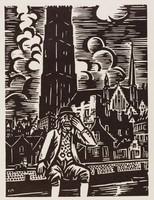 Malines - Op Sinjoorke, Frans Masereel, woodcut