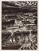 Sur l'Escaut - Anvers, Frans Masereel, woodcut