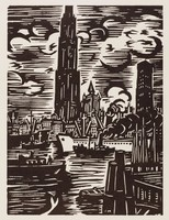 The foreground is made up of a waterway populated with ships. A piece of a dock is seen in the bottom right corner. In the background is a sky line of Antwerp containing the Cathredral of Our Lady and the Boerentoren building.