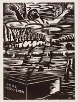 """A man on a box labed """"Emile Verhaeren"""" falls forward with both hands raised. His lower body is partially covered by the imagery of a waterway with ships. Behind his left hand is the sun. Behind his right has is a small city scene."""